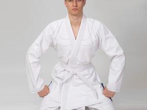 Кимоно для джиу джитсу белое VELO (хлопок, р-р 1-7 (140-200см), плотность 350г на м2, пояс в комплект не входит) - 1 (рост 140)