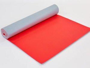 Коврик для фитнеса и йоги PVC 6мм двухслойный SP-Planeta (размер 1,73мx0,61мx6мм, серый-коралловый)