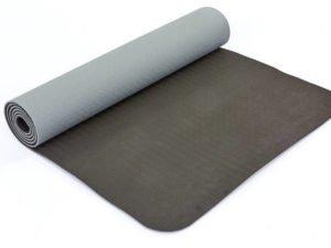 Коврик для фитнеса и йоги TPE+TC 6мм двухслойный SP-Planeta (размер 1,83мx0,61мx6мм, серый-черный)