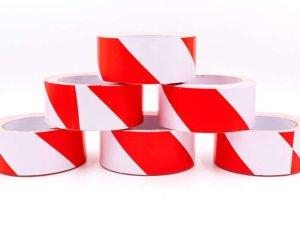 Лента сигнальная для ограждения и защиты (р-р 100мх4,8смх5мк, белый-красный)