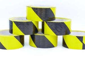 Лента сигнальная для ограждения и защиты (р-р 100мх4,8смх5мк, желтый-черный)