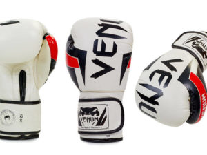 Перчатки боксерские FLEX на липучке VNM ELITE (р-р 10-12oz, белый-черный) - 12 унции