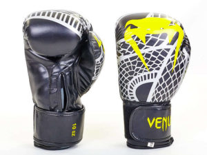Перчатки боксерские FLEX на липучке VNM SNAKER (р-р 4-12oz, черный-желтый) - 4 унции