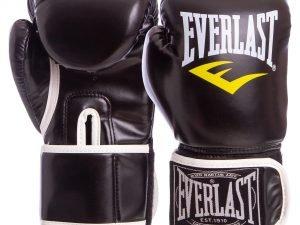 Перчатки боксерские PU на липучке ELAST (р-р 8-12oz, цвета в ассортименте) - Черный-8 унции