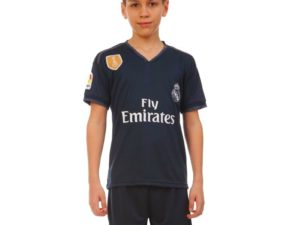Форма футбольная детская REAL MADRID гостевая 2019 SP-Planeta (р-р 20-28-6-14лет, 110-155см, черный-серый) - 22, возраст 8лет, рост 120-125