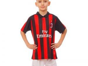 Форма футбольная детская AC MILAN домашняя 2019 SP-Planeta (р-р 20-28-6-14лет, 110-155см, красный-черный) - 22, возраст 8лет, рост 120-125
