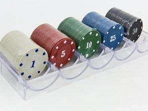 Фишки для покера в пластиковом боксе (100 фишек с номиналом, 4гр)