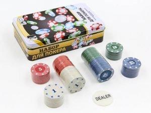 Покерный набор в металлической коробке-100 фишек (с номиналом)