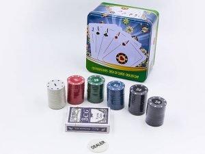 Покерный набор в металлической коробке-120 фишек (с номиналом,1 кол.карт)