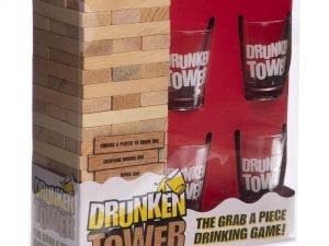Дженга пьяная башня Drunken Tower Jenga (деревянные блоки-60шт, стеклянные стопки-4шт)