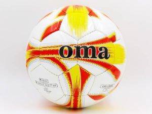 Мяч футбольный №5 JM JM-4-4 (№5, PU, белый-желтый-красный) (Replica)