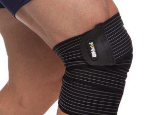 Бинт на колено (1шт) MUTE (полиамид, спандекс, р-р регулируемый, черный)