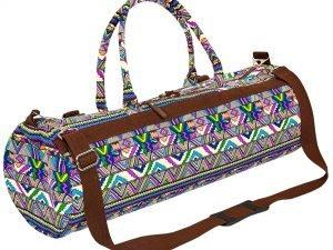 Сумка для йога коврика Yoga bag KINDFOLK (размер 20смх65см, полиэстер, хлопок, темно-синий-фиолетовый)