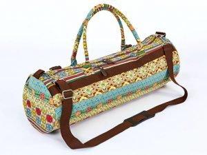 Сумка для йога коврика Yoga bag KINDFOLK (размер 20смх65см, полиэстер, хлопок, бежевый-голубой)