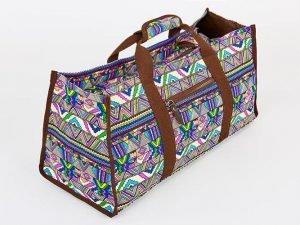 Сумка для фитнеса и йоги Yoga bag DoYourYoga (размер 22х24х54см, полиэстер, хлопок, бежевый-синий-фиолетовый)