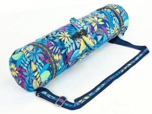 Сумка для йога коврика Yoga bag FODOKO (размер 16смх70см, полиэстер, хлопок, темно-синий-голубой)