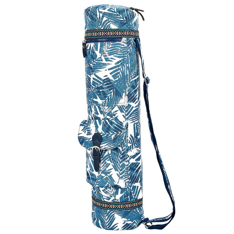 Сумка для йога коврика Yoga bag FODOKO (размер 16смх70см, полиэстер, хлопок, синий-белый)