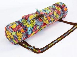 Сумка для йога коврика Yoga bag FODOKO (размер 16смх70см, полиэстер, хлопок, красный-т.синий-желтый)