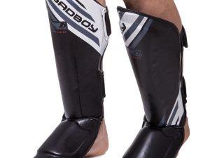 Защита для голени и стопы Муай Тай, ММА, Кикбоксинг FLEX BAD BOY Pro Series Advanced (р-р M-XL, черный-белый) - L