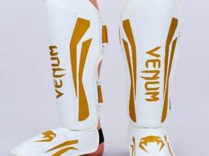 Защита для голени и стопы Муай Тай, ММА, Кикбоксинг кожаная VNM ELITE (р-р M-XL, белый-золотой) - M