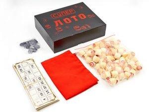 Лото настольная игра в цветной картонной коробке Супер лотто (90 дер.боч., 24карт, 40 пласт. фиш, тканевый мешок)