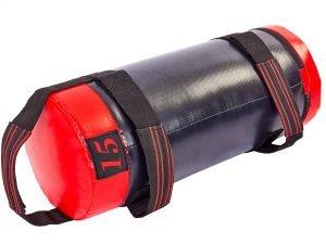Мешок для кроссфита и фитнеса UR (PVC, нейлон, вес 15кг, р-р 56×22см, черный-красный)
