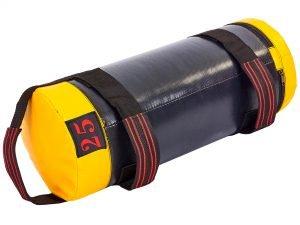 Мешок для кроссфита и фитнеса UR (PVC, нейлон, вес 25кг, р-р 56×22см, черный-желый)