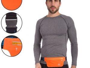 Ремень-сумка спортивная (поясная) для бега и велопрогулки (полиэстер, цвета в ассортименте) - Цвет Оранжевый
