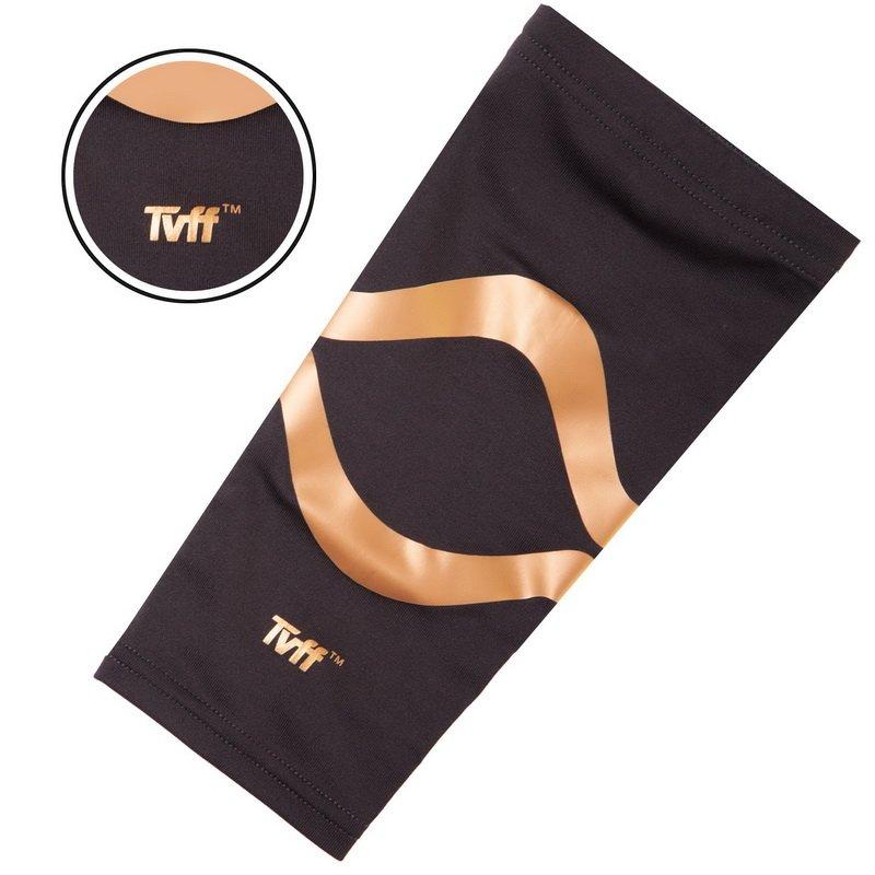 Налокотник эластичный (1шт) TVFF (полиамид, спандекс, р-р S-XL, черный-золотой)