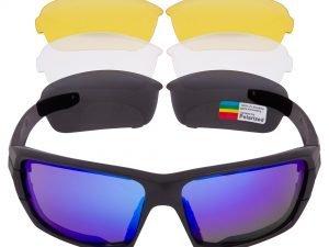 Очки спортивные солнцезащитные ROLLBAR в футляре (пластик, акрил, 3 сменные линзы, polirazed)