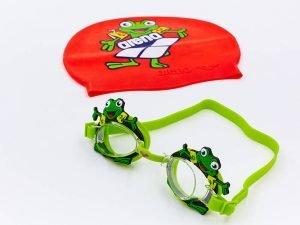 Набор для плавания детский очки и шапочка ARENA WORLD (поликарбон, термопластичная резина, силикон, цвета в ассортименте) - Цвет Зеленый-красный