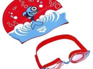 Набор для плавания детский очки и шапочка ARENA AWT MULTI (поликарбонат, термопластичная резина, силикон, цвета в ассортименте) - Цвет Красный