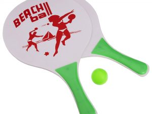 Набор ракетки и мячик для пляжного тенниса (дерево, PVC, размер 38×24см, 2 ракетки + 1 мячик)