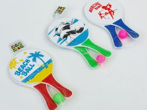 Набор ракетки и мячик для пляжного тенниса (дерево, PVC, размер 33×19см, 2 ракетки + 1 мячик)