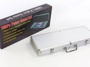 Набор для покера в алюминиевом кейсе на 500 фишек с номиналом (2 кол.карт,5куб)