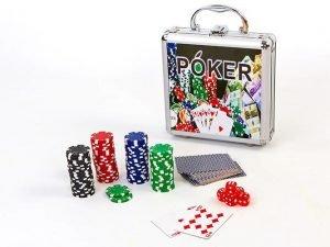 Набор для покера в алюминиевом кейсе на 100 фишек без номинала (2кол.карт, 5куб)