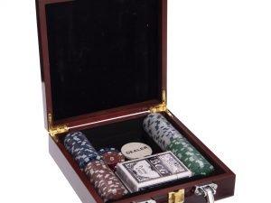 Набор для покера в деревянном кейсе на 100 фишек с номиналом (2 кол.карт,5куб)