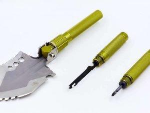 Лопата многофункциональная складная тактическая (нерж., хром. сталь, l-74см, р-р 13х16,5см, олива)