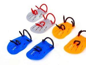 Лопатки для плавания гребные (пластик, резина, р-р S-L, синий, оранжевый, серый) - L