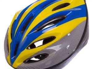 Велошлем кросс-кантри с механизмом регулировки (EPS,пластик, PVC, р-р 52-61см, цвета в ассортименте) - Цвет Желтый-голубой