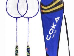 Набор для бадминтона 2 ракетки в чехле COKA (сталь, красный, синий)