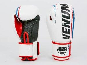 Перчатки боксерские кожаные на липучке VNM (р-р 10-12oz, белый) - 12 унции