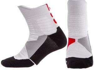 Носки спортивные для баскетбола DML7300, DML7501 (нейлон, хлопок, р-р 40-45, цвета в ассортименте) - Цвет Белый-красный