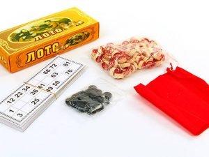 Лото настольная игра в цветной картонной коробке (90 дер.боч.,48 карт,40 фиш,р-р 23×9,5×4,5см)