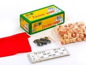 Лото настольная игра в цветной картонной коробке (90 дер.боч.,48 карт,40 фиш, р-р 25x12x8,5см)