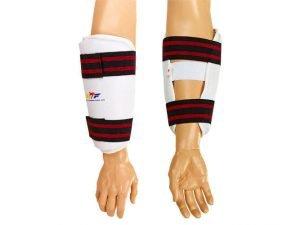 Защита предплечья для тхэквондо WTF (PU, р-р S-XL, белый, крепление на липучках) - L