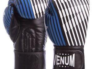 Перчатки боксерские кожаные на липучке VNM (р-р 10-12oz, синий-желтый-черный) - 10 унции