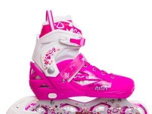Роликовые коньки раздвижные Zelart HEARTFUL размер 30-41 розовый - 38-41