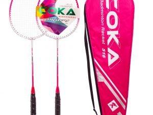 Набор для бадминтона 2 ракетки в чехле COKA (сталь, цвета в ассортименте) - Цвет Розовый