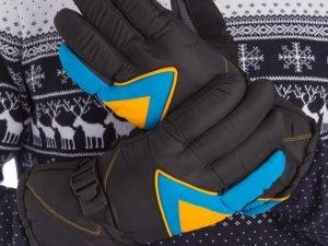 Перчатки горнолыжные теплые (р-р M-L, L-XL, цвета в ассортименте, уп.-12пар, цена за 1пару) - Черный-голубой-желтый-M-L